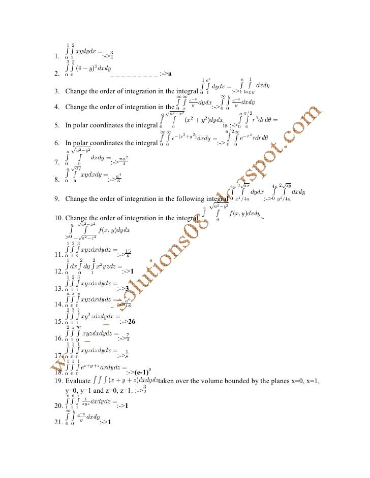 1.              :->  2.                    _ _ _ _ _ _ _ _ _ :->a  3. Change the order of integration in the integral     ...
