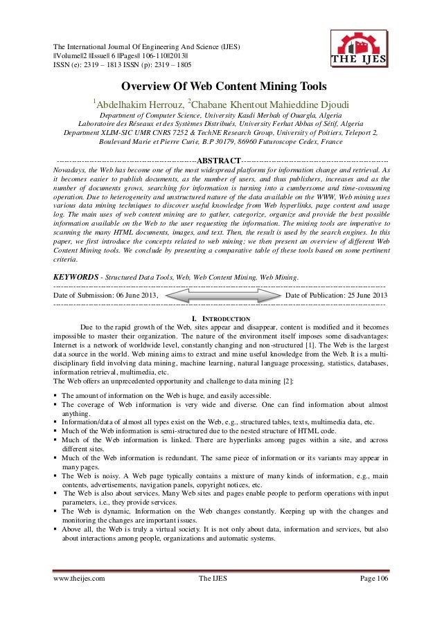 The International Journal Of Engineering And Science (IJES)   Volume  2   Issue   6   Pages   106-110  2013   ISSN (e): 23...