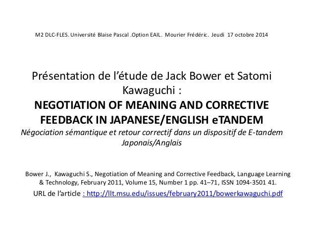 M2 DLC-FLES. Université Blaise Pascal .Option EAIL. Mourier Frédéric. Jeudi 17 octobre 2014  Présentation de l'étude de Ja...