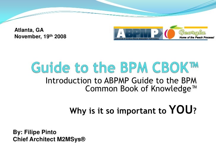 Atlanta, GA November, 19th 2008                Introduction to ABPMP Guide to the BPM                       Common Book of...