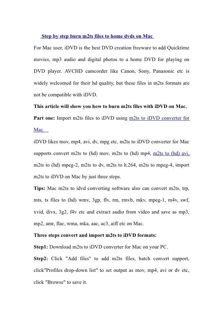 M2ts to idvd on mac123