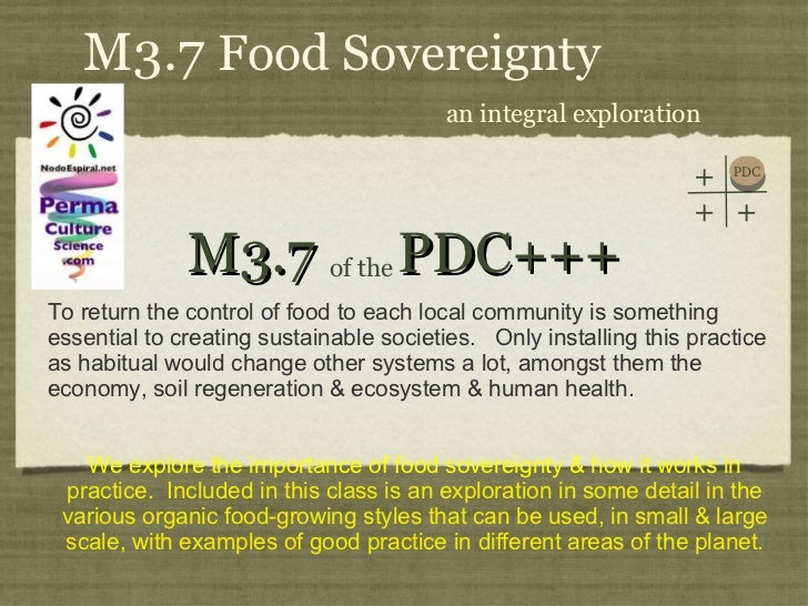 PDC+++ Module 3 Class 7. Food Sovereignty Part I