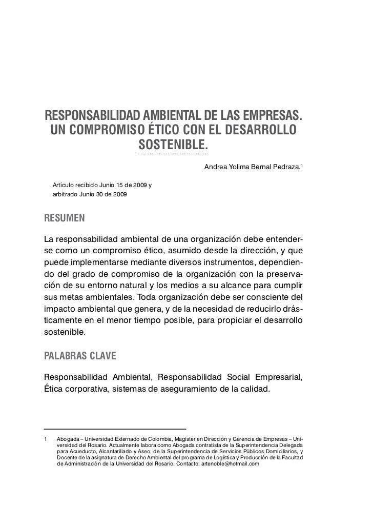 RESPONSABILIDAD AMBIENTAL DE LAS EMPRESAS. UN COMPROMISO ÉTICO CON EL DESARROLLO               SOSTENIBLE.                ...