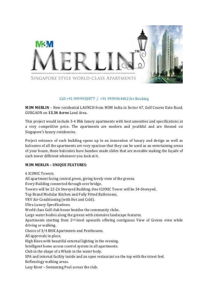 Call +91 9999950877 / +91 9999964462 for BookingM3M MERLIN – New residential LAUNCH from M3M India in Sector 67, Golf Cour...