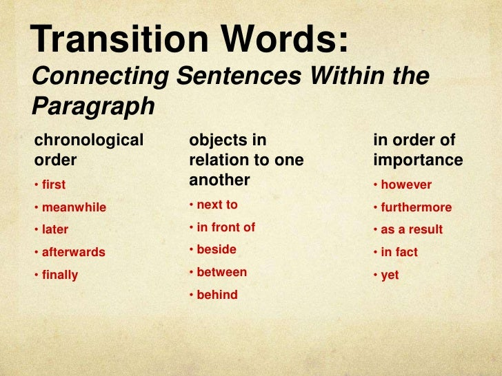 What are some good transitional words to go from one paragraph to another?
