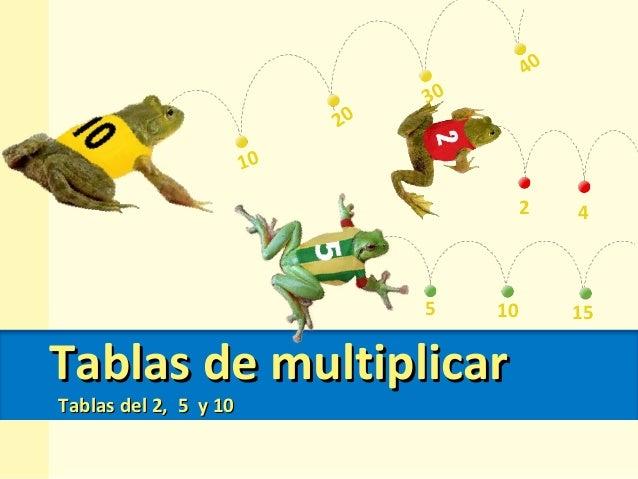 Tablas de multiplicarTablas de multiplicar Tablas del 2, 5 y 10Tablas del 2, 5 y 10 2 4 5 10 15 10 40 20 30