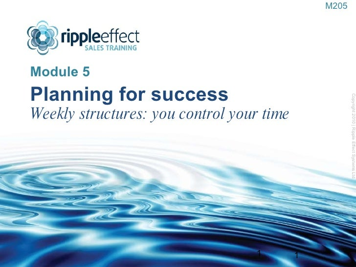 Planning for success Weekly structures: you control your time <ul><li>Module 5 </li></ul>Copyright 2010   Ripple Effect Sy...