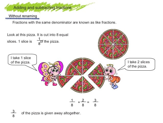 Adding and subtracting fractions with like denominators word problems