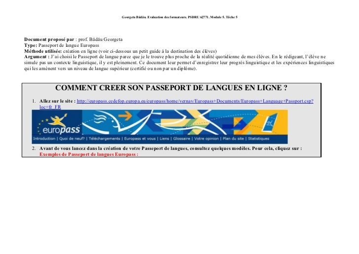 Creer son Passeport de langue en ligne