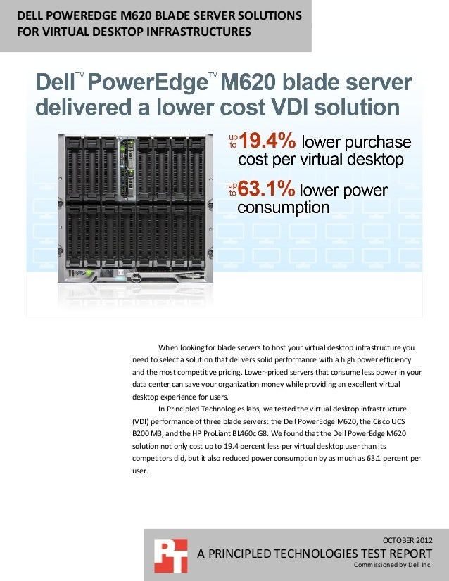 Dell PowerEdge M620 blade server solutions for virtual desktop infrastructures