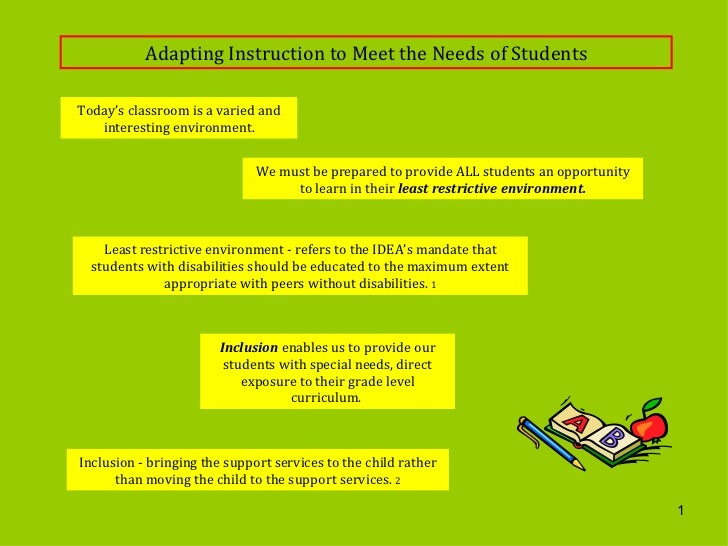 Adapting Instruction to Meet the Needs of Students Today's classroom is a varied and interesting environment. We must be p...
