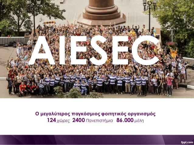 AIESEC Ο μεγαλύτερος παγκόσμιος φοιτητικός οργανισμός 124 χώρες 2400 Πανεπιστήμια 86.000 μέλη