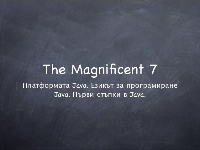 The Magnificent 7 Платформата Java. Езикът за програмиране Java. Първи стъпки в Java.