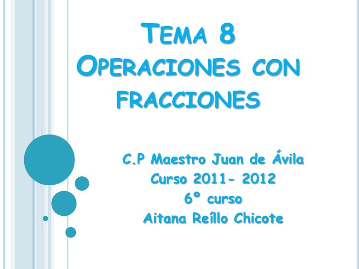 TEMA 8OPERACIONES CON  FRACCIONES   C.P Maestro Juan de Ávila       Curso 2011- 2012            6º curso      Aitana Reíll...