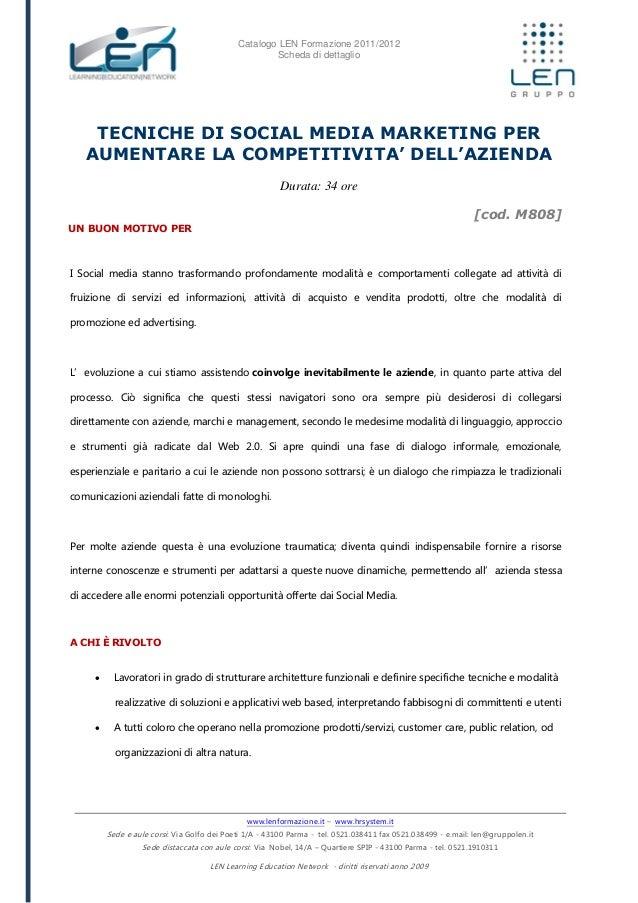 Tecniche di social media marketing per aumentare la competitività dell'azienda - Scheda corso LEN