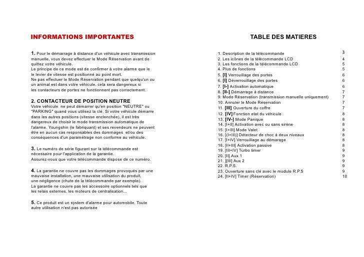 INFORMATIONS IMPORTANTES                                                          TABLE DES MATIERES  1. Pour le démarrage...