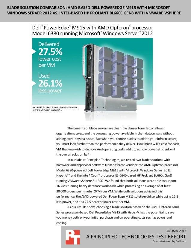 Blade solution comparison: AMD-based Dell PowerEdge M915 with Microsoft Windows Server 2012 Hyper-V vs. Intel-based HP ProLiant BL660c Gen8 with VMware vSphere