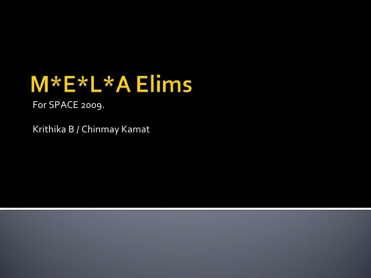 For SPACE 2009. Krithika B / Chinmay Kamat