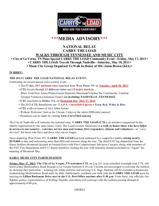 ***MEDIA ADVISORY***NATIONAL RELAYCARRY THE LOADWALKS THROUGH TENNESSEE AND MUSIC CITY• City of La Verne, TN Plans Special...