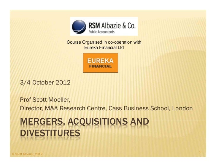 M&A Strategy and Valuation, Oct 3 and 4 - 2012