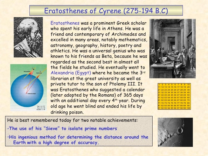 Eratosthenes of Cyrene (275-194 B.C) Eratosthenes  was a prominent Greek scholar who spent his early life in Athens. He wa...