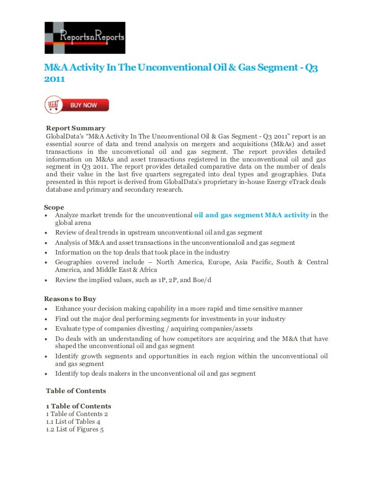 M&a activity in the unconventional oil & gas segment   q3 2011