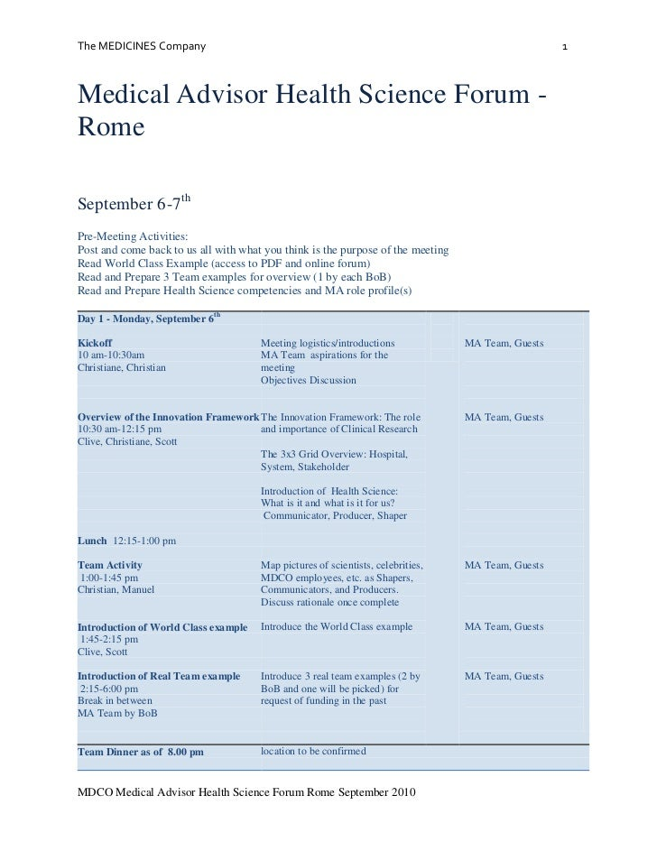 Medical Advisor Health Science Forum - Rome<br />September 6-7th<br />Pre-Meeting Activities: <br />Post and come back to ...