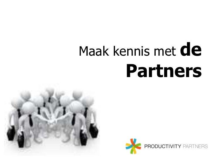 Maak kennis met de partners van Productivity Partners
