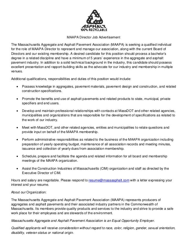 MAAPA Director Job Advertisement The Massachusetts Aggregate and Asphalt Pavement Association (MAAPA) is seeking a qualifi...