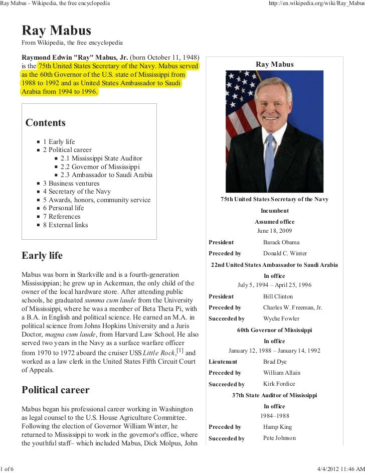 Ray Mabus - Wikipedia, the free encyclopedia                                                        http://en.wikipedia.or...
