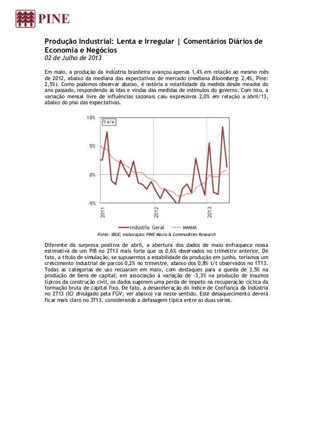 Produção Industrial: Lenta e Irregular | Comentários Diários de Economia e Negócios 02 de Julho de 2013 Em maio, a produçã...