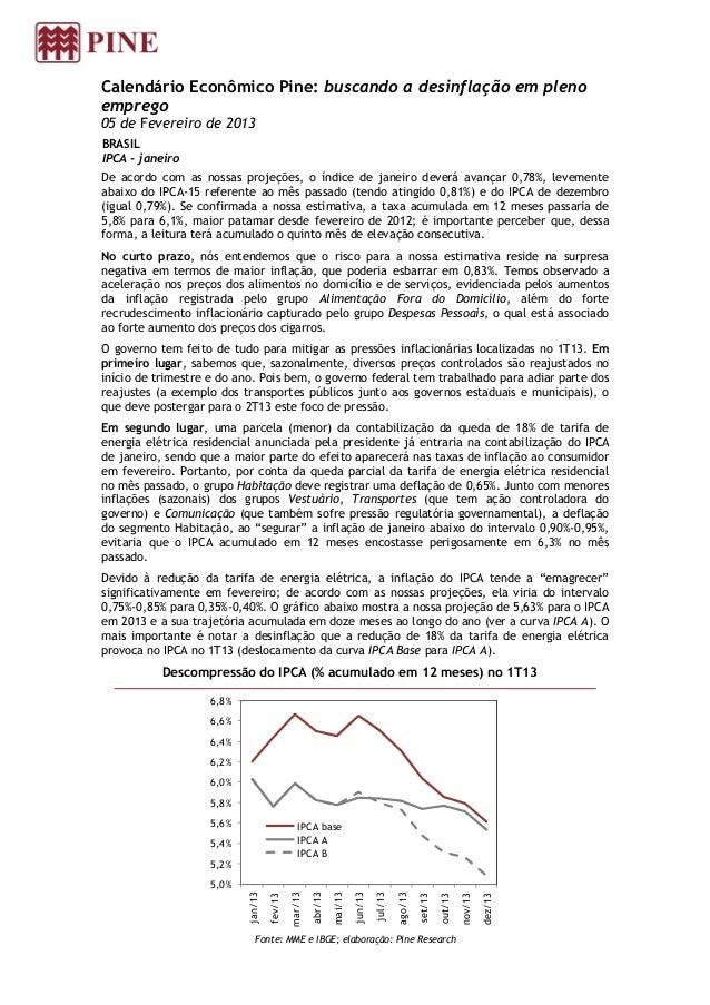 Calendário Econômico Pine: buscando a desinflação em plenoemprego05 de Fevereiro de 2013BRASILIPCA - janeiroDe acordo com ...