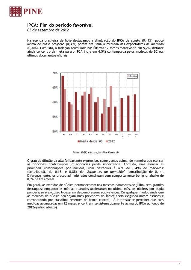 IPCA: Fim do período favorável05 de setembro de 2012Na agenda brasileira de hoje destacamos a divulgação do IPCA de agosto...