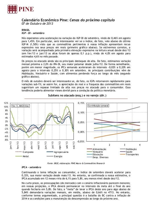 Calendário Econômico Pine: Cenas do próximo capítulo 07 de Outubro de 2013 BRASIL IGP – DI – setembro Nós esperamos uma ac...