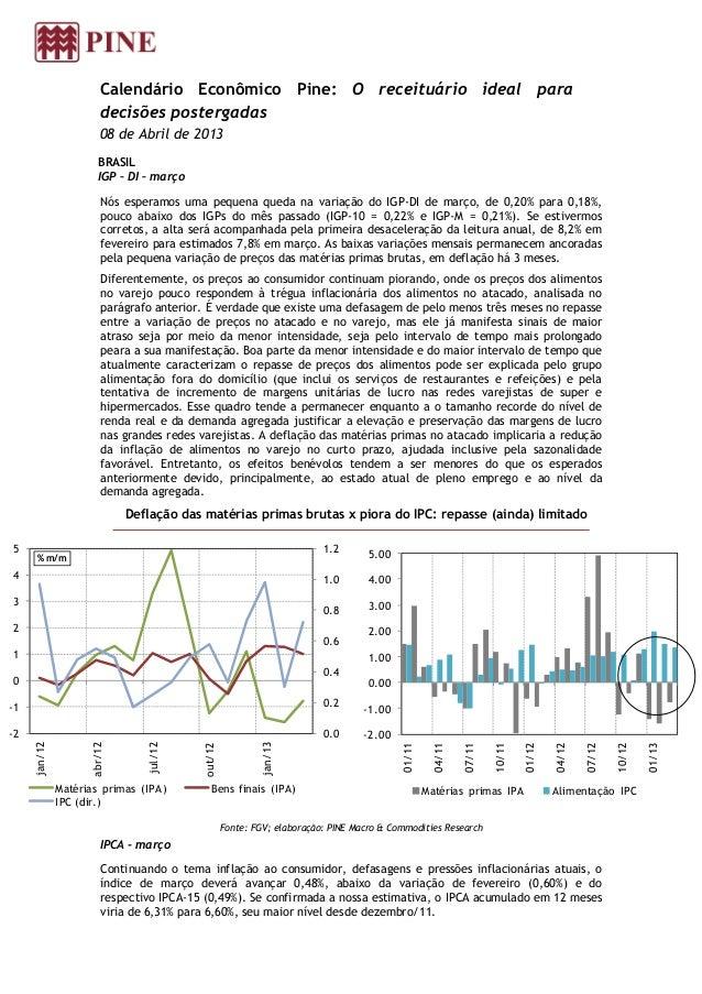Calendário Econômico Pine: O receituário ideal para                        decisões postergadas                        08 ...