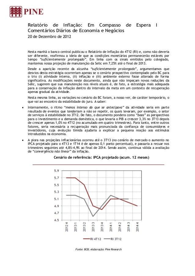 Relatório de Inflação: Em Compasso de                                  Espera       IComentários Diários de Economia e Neg...