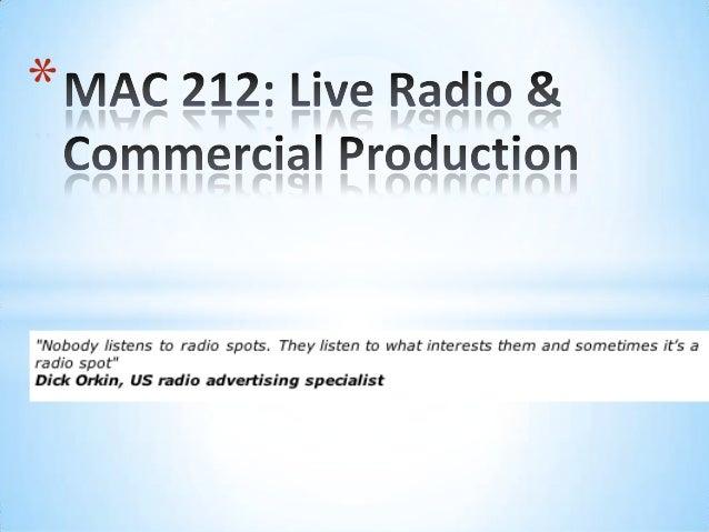 MAC212- Radio Advertising - Session 1