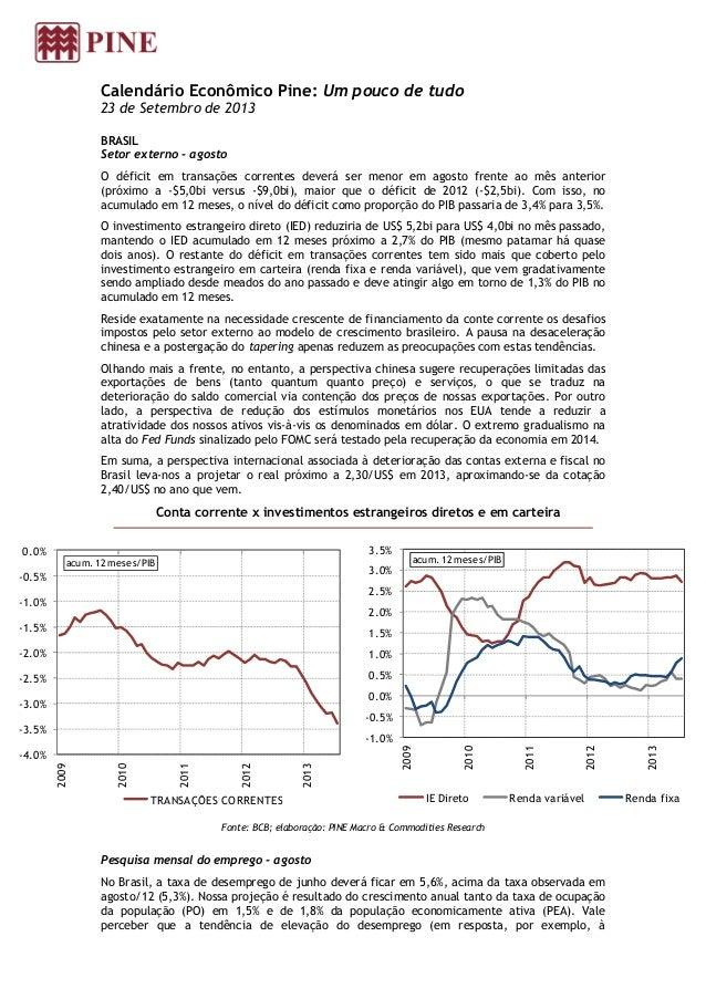 Calendário Econômico Pine: Um pouco de tudo 23 de Setembro de 2013 BRASIL Setor externo - agosto O déficit em transações c...