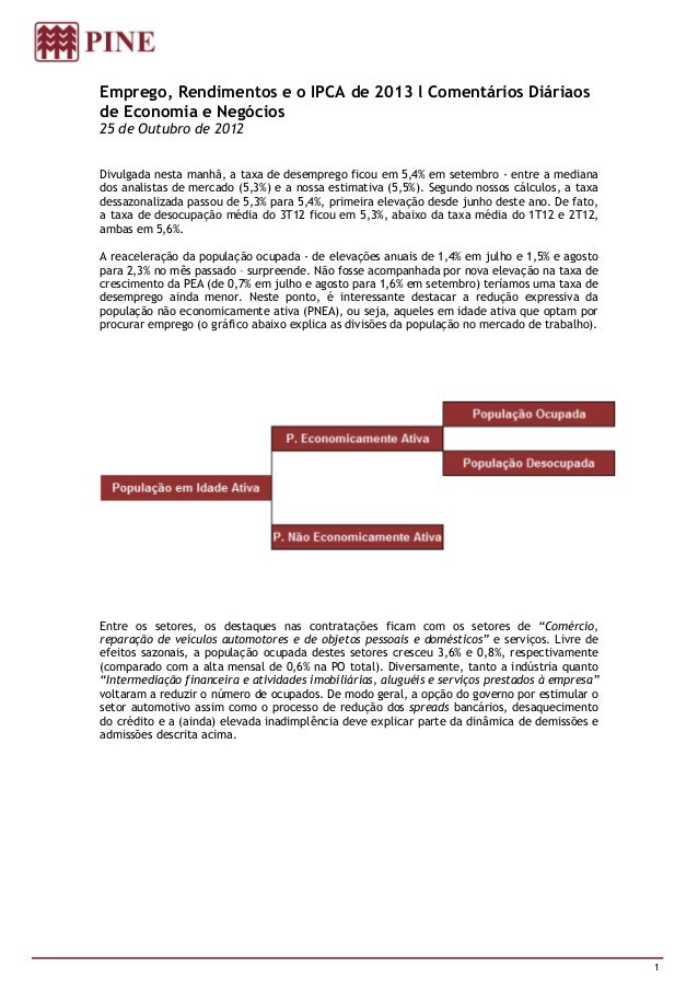 Emprego, Rendimentos e o IPCA de 2013 l Comentários Diáriaosde Economia e Negócios25 de Outubro de 2012Divulgada nesta man...