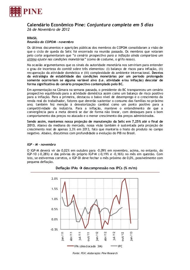 Calendário Econômico Pine: Conjuntura completa em 5 dias26 de Novembro de 2012BRASILReunião do COPOM - novembroOs últimos ...