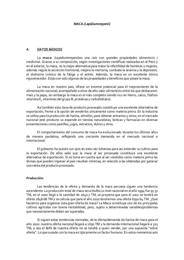 MACA (Lepidiummeyenii)A.      DATOS BÁSICOS        La maca (Lepidiummeyenii)es una raíz con grandes propiedades alimentici...