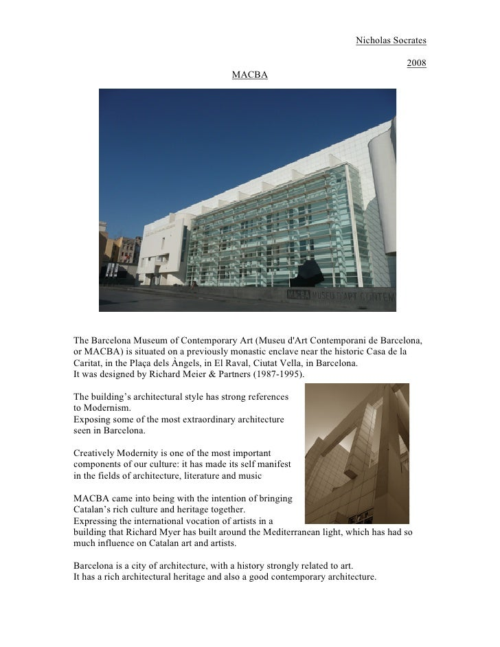 MACBA, Barcelona - Architectural Study, Research & Analysis