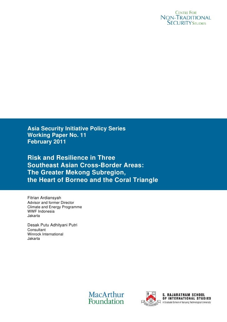 Risk and Resilience in Three Southeast Asian Cross-Border Areas: The Greater Mekong Subregion, the Heart of Borneo and the Coral Triangle