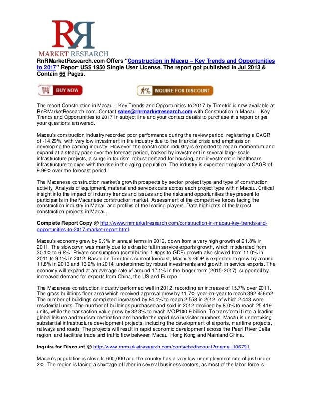 """RnRMarketResearch.com Offers """"Construction in Macau – Key Trends and Opportunities to 2017"""" Report US$ 1950 Single User Li..."""
