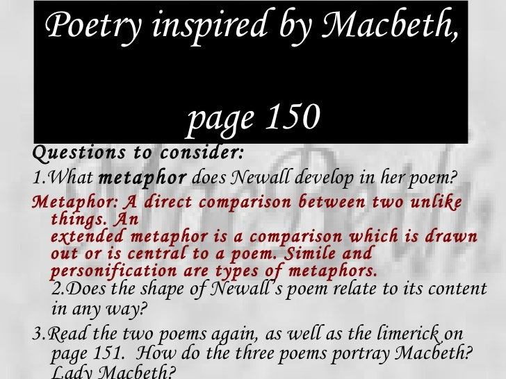 compare macbeth and the man he killed poem How can we compare the idea of obsession in 'macbeth' and in 'porphyria's lover' macbeth's obsession is his thirst for power could we then say that porphyria's lover's obsession is his desire to preserve the perfect moment in their relationship discuss find quotes to support your points.