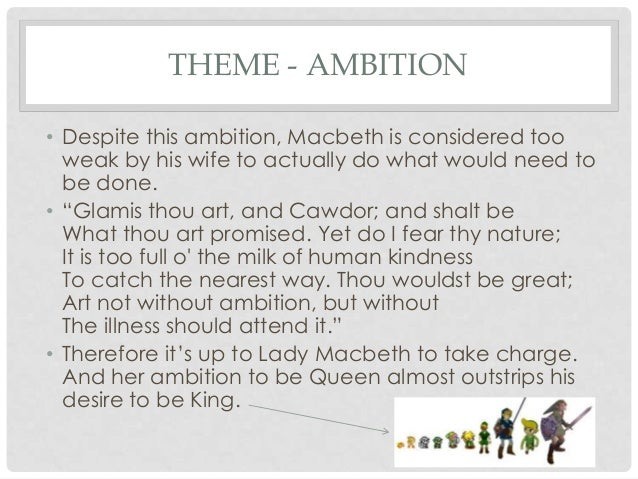 ambition in macbeth thesis Title length color rating : ambition in macbeth essay - ever since he heard the prophecies that promised him power, macbeth's mind has been descending into a.