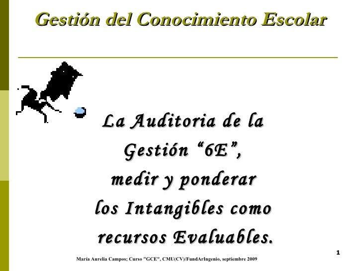 """Gestión del Conocimiento Escolar   <ul><li>La Auditoria de la  </li></ul><ul><li>Gestión """"6E"""",  </li></ul><ul><li>medir y ..."""