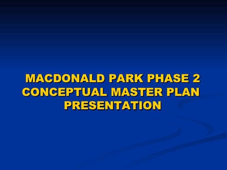 Cosumnes CSD - MacDonald Park Conceptual Master Plan