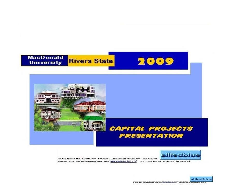 MacDonald MacDonald University                  TAKE-OFF     Capital Projects          2009                           INTR...