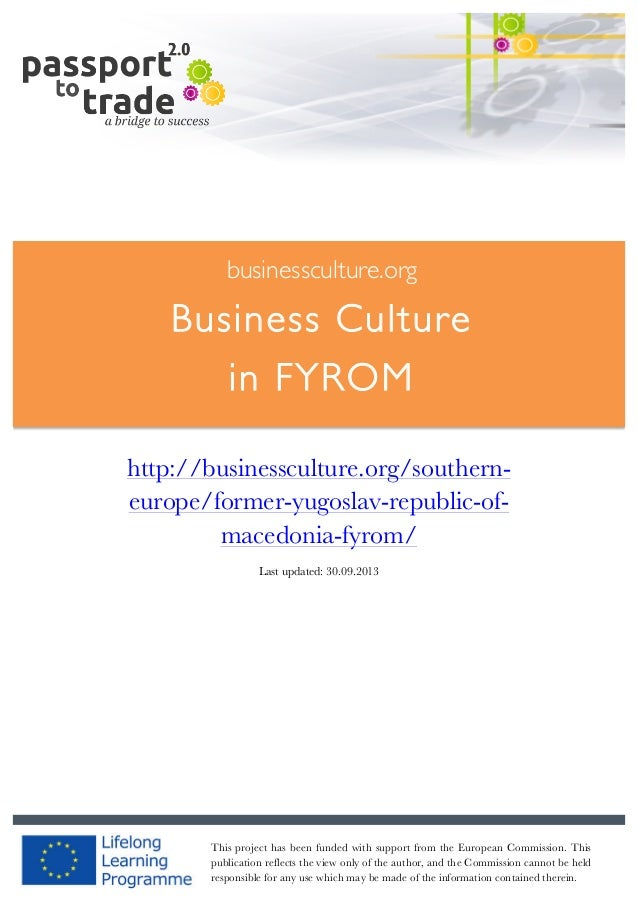 Macedonian business culture guide - Learn about FYROM